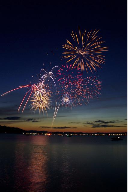 Fireworks over Long Lake from the Naples causeway