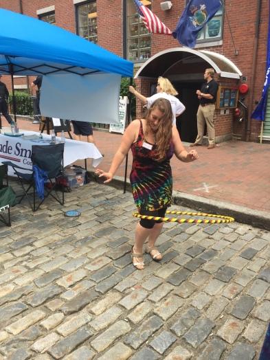 Jen rocks out with a handmade rasta hula hoop!